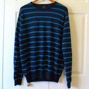 J. Crew Blue Stripe 100% Merino Wool Sweater